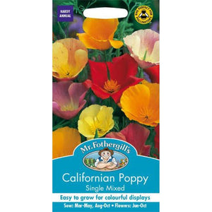 Californian Poppy Single Mixed seeds- By Mr Fothergills - Bells Gardening