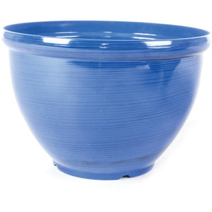 Plastic Light Weight Feather Glazed  Plant Pot -By Woodlodge Blue