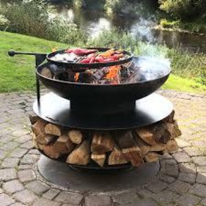 Fire Pit Ring of Logs 90cm with Swing Arm BBQ Rack and Decorative Band - Bells Gardening