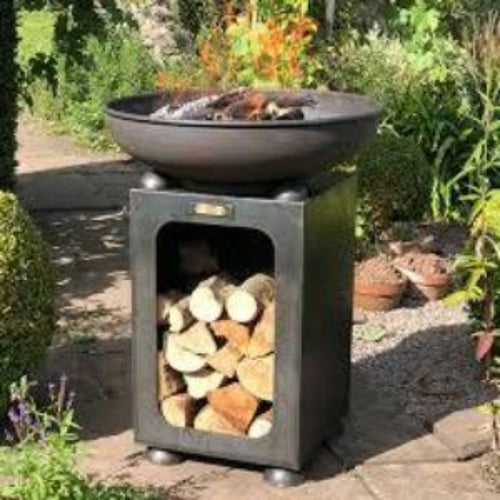 Fire Bowl With Log Store - Bells Gardening