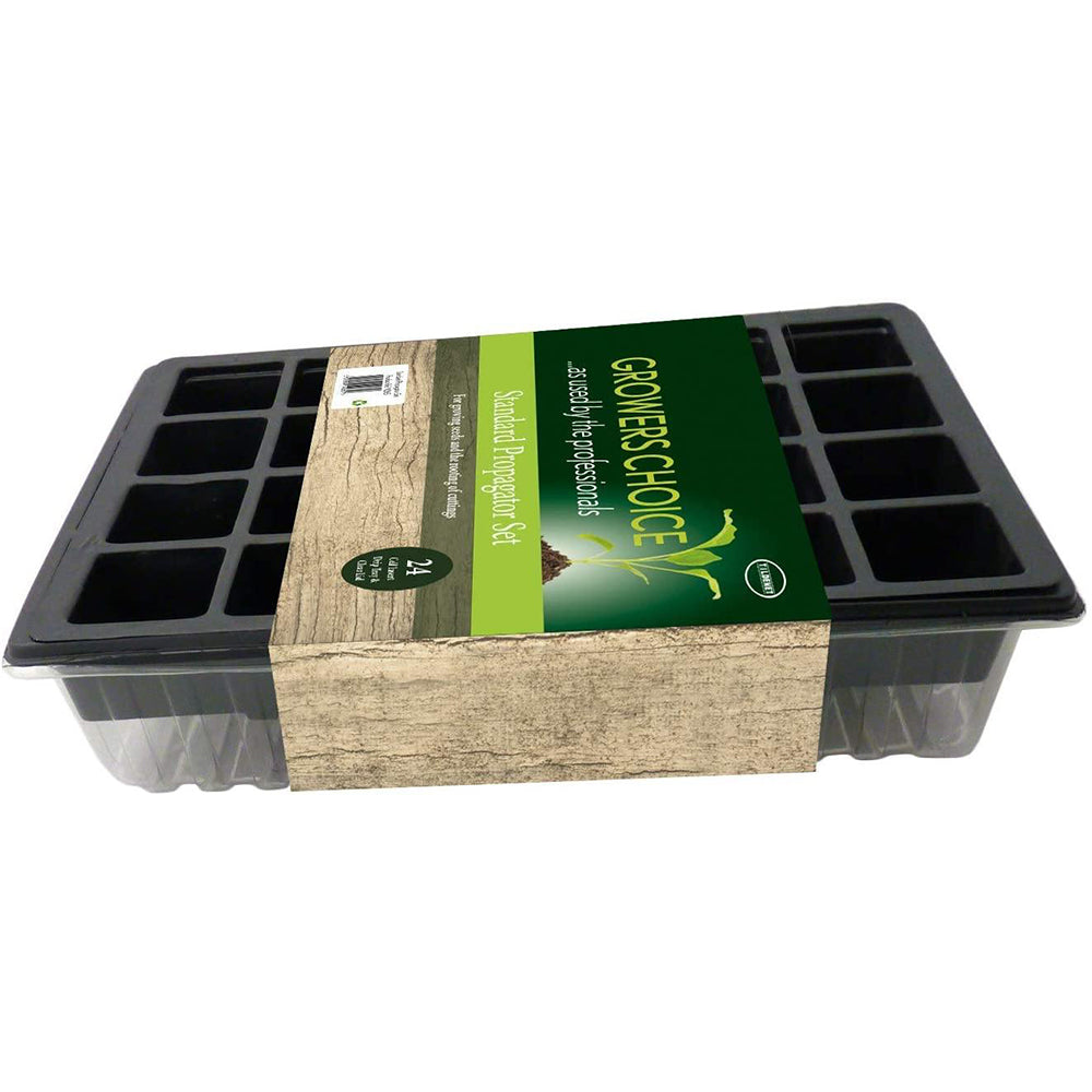 24 Cell Standard Black Plastic Propagator Set with Clear Lid