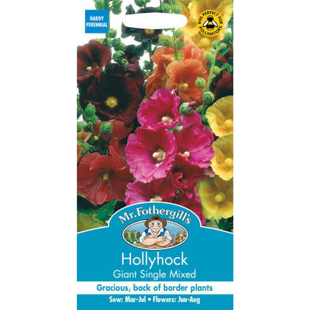 Hollyhock Giant Single Mixed Seeds- By Mr Fothergills - Bells Gardening