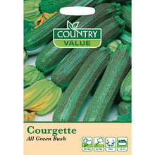 Load image into Gallery viewer, Courgette All Green Bush Seeds- By Country Value