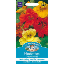 Load image into Gallery viewer, Nasturtium Gleam Mixed Seeds- By Mr Fothergills