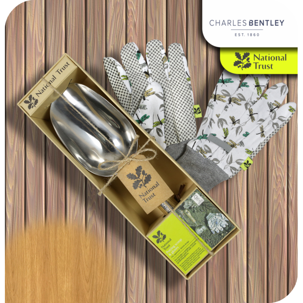 Charles Bently National Trust Potting Scoop And Gloves Gift Set - Bells Gardening