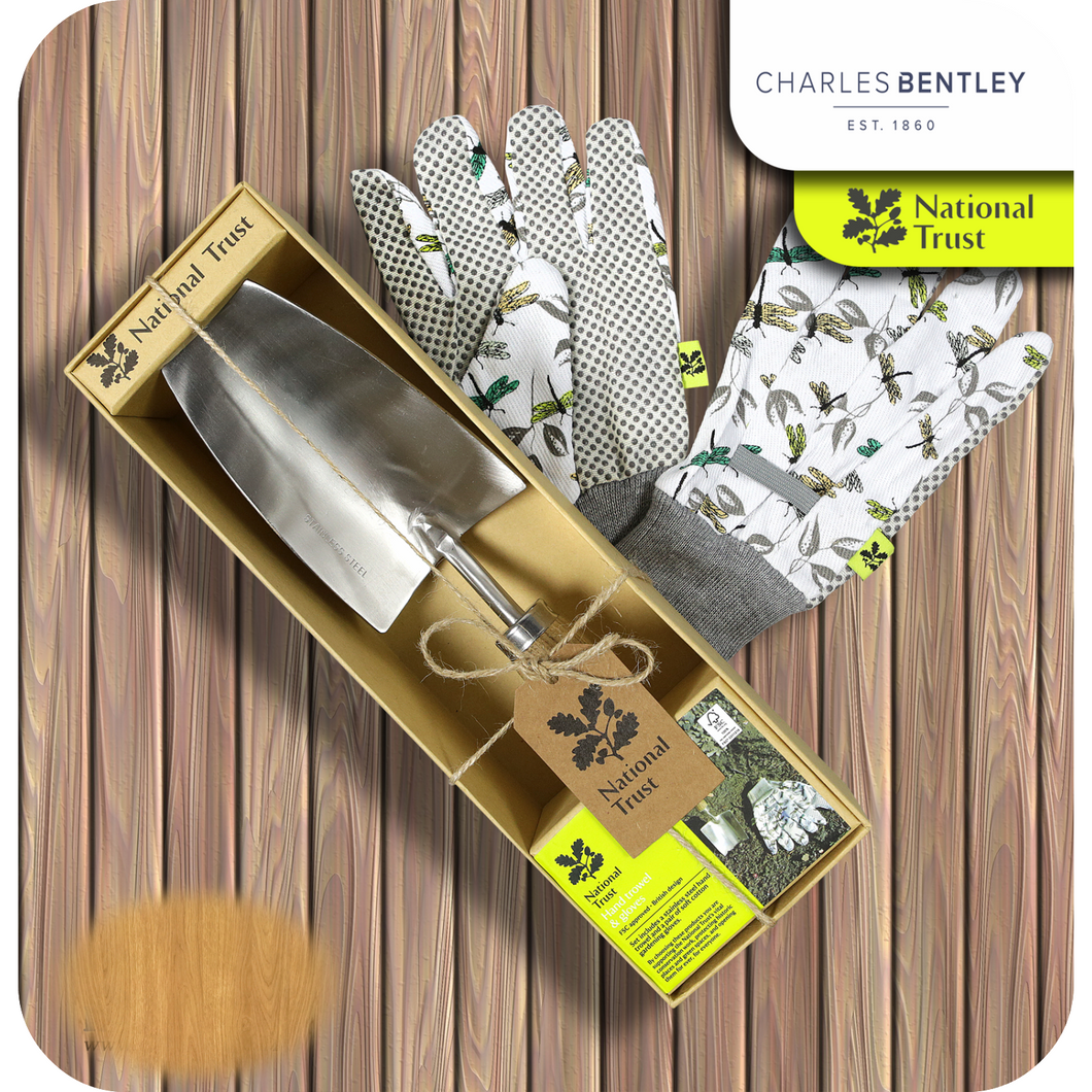 Charles Bently National Trust Trowel And Gloves Gift Set - Bells Gardening