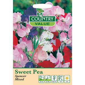 Sweet Pea Spencer Mixed Seeds- By Country Value