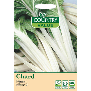 Chard White Silver 2 Seeeds- By Country Value - Bells Gardening