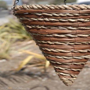 "Reed and Rope Premium  14"" Cone Hanging Basket"