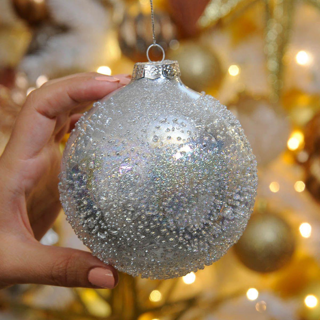 10cm Silver Beaded Glass Christmas Tree Bauble