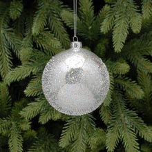 Load image into Gallery viewer, 10cm Silver Beaded Glass Christmas Tree Bauble