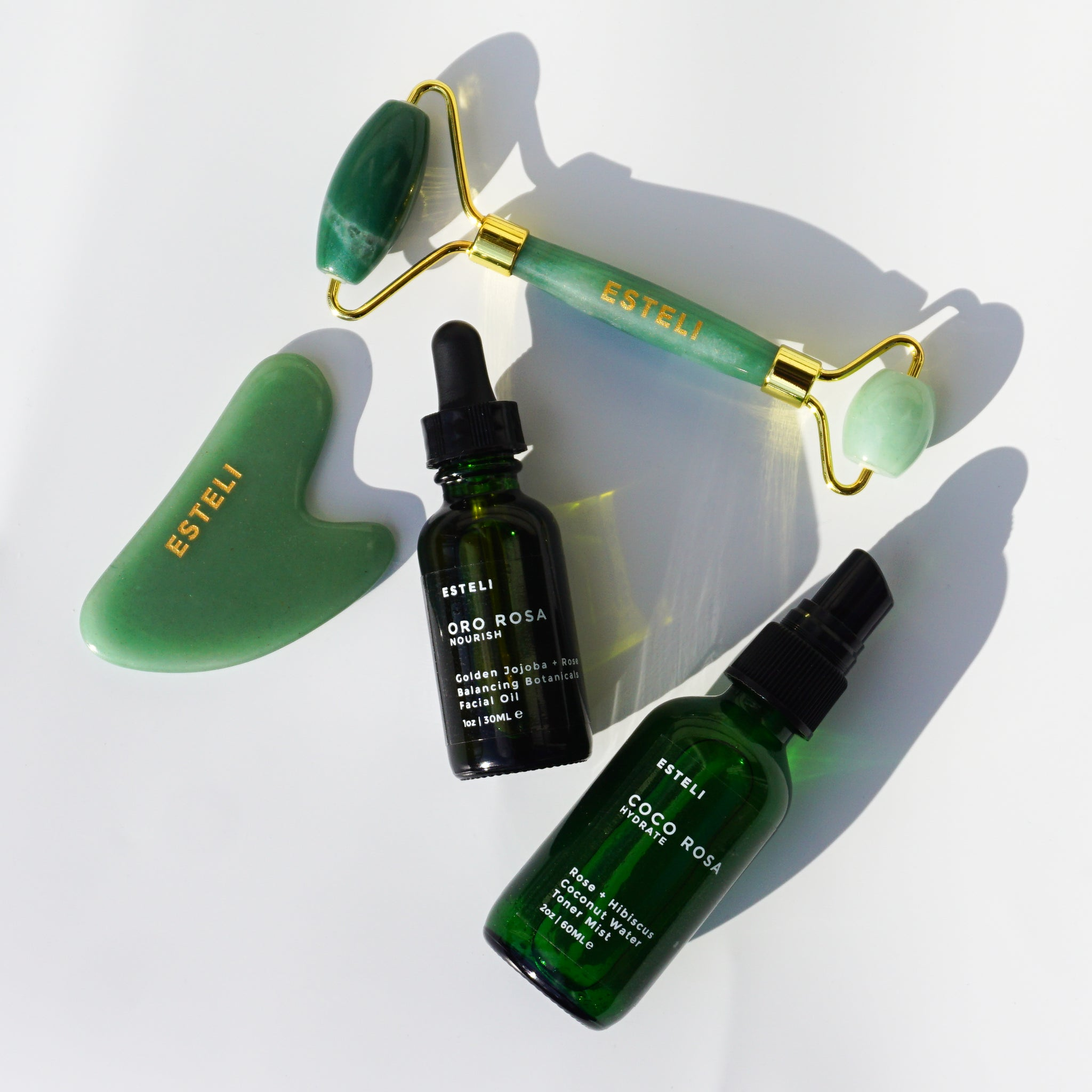 Aventurine Hydration Gift Set- Face Oil, Face Mist, Facial Roller and Gua Sha