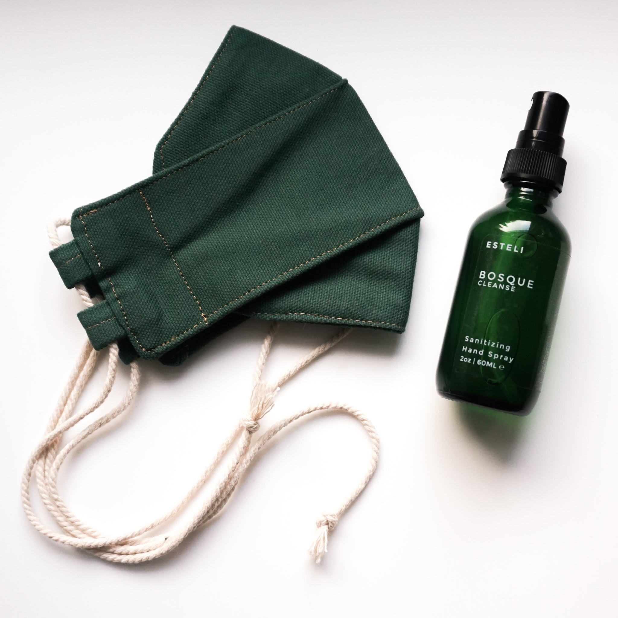 CLEANSE & PROTECT - Sanitizing Hand Spray + Origami Canvas Face Mask Set