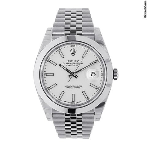 Rolex Datejust 41mm Stainless Steel White Index Dial Watch 126300