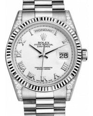 Rolex Day-Date 36 118339-WHTRFP White Roman Diamond Set Fluted White Gold President - Fresh