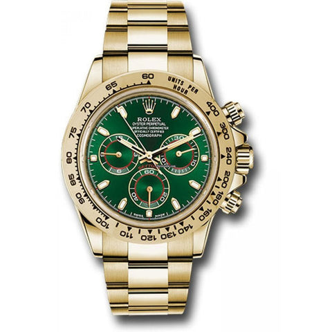 Rolex Daytona 40mm 18kt Yellow Gold Green Dial