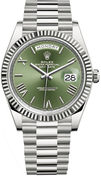 Rolex Day-Date 40 18k White Gold Green Roman Dial