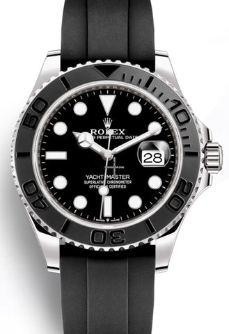Rolex Yacht-Master 42mm 18k White Gold Ceramic Bezel On Oysterflex