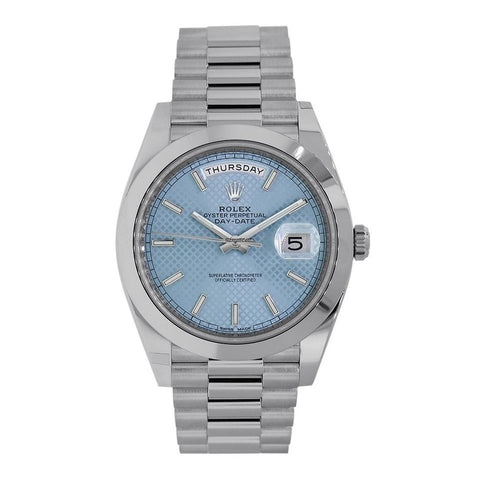 Rolex Day Date 40 Platinum President Ice Blue Motif Watch 228206