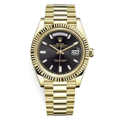Rolex Day-Date 40mm Gold Black Diamond Baguette Dial 18k 223238