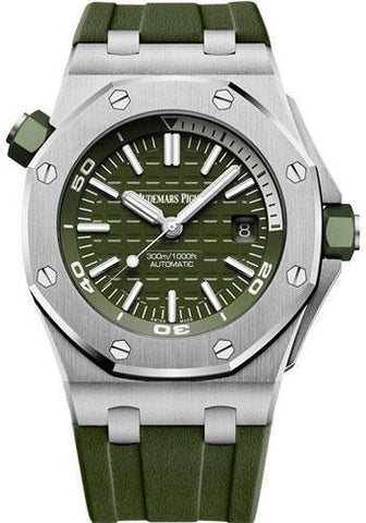 Audemars Piguet Royal Oak Offshore Diver Watch-Green Dial 42mm-15710ST.OO.A052CA.01 - NY WATCH LAB