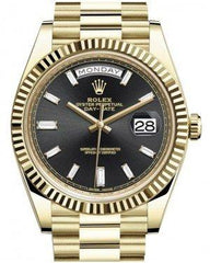 Rolex Day-Date 40 Yellow Gold Black Diamond Dial & Fluted Bezel President Bracelet 228238 -  Fresh