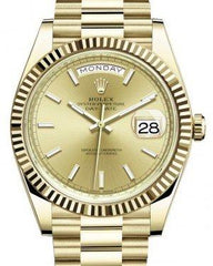 Rolex Day-Date 40 Yellow Gold Champagne Index Dial & Fluted Bezel President Bracelet 228238 -  Fresh