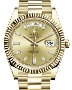Rolex Day-Date 40 Yellow Gold Champagne Diamond Dial & Fluted Bezel President Bracelet 228238 -  Fresh
