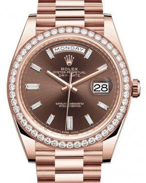 Rolex Day-Date 40 Rose Gold Chocolate Diamond Dial & Diamond Bezel President Bracelet 228345RBR -  Fresh