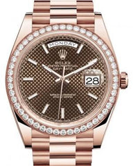 Rolex Day-Date 40 Rose Gold Chocolate Diagonal Motif Index Dial & Diamond Bezel President Bracelet 228345RBR -  Fresh