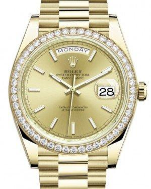 Rolex Day-Date 40 Yellow Gold Champagne Index Dial & Diamond Bezel President Bracelet 228348RBR -  Fresh