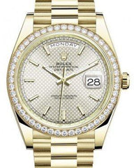 Rolex Day-Date 40 Yellow Gold Silver Diagonal Motif Index Dial & Diamond Bezel President Bracelet 228348RBR -  Fresh