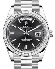 Rolex Day-Date 40 Platinum Black Index Dial & Diamond Bezel President Bracelet 228396TBR -  Fresh