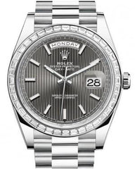 Rolex Day-Date 40 Platinum Rhodium Striped Index Dial & Diamond Bezel President Bracelet 228396TBR -  Fresh