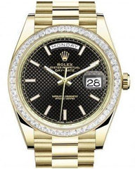 Rolex Day-Date 40 Yellow Gold Black Diagonal Motif Index Dial & Baguette Diamond Bezel President Bracelet 228398TBR -  Fresh