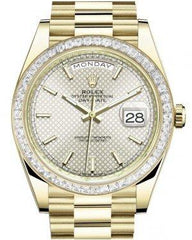 Rolex Day-Date 40 Yellow Gold Silver Motif Index Dial & Baguette Diamond Bezel President Bracelet 228398TBR -  Fresh