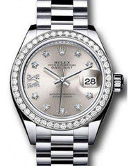 Rolex Datejust 28 279136 Silver Diamond Roman 9 o' Clock Diamond Bezel Platinum President - Fresh