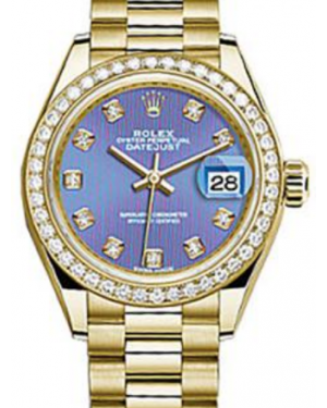 Rolex Datejust 28 279138 Lavender Diamond Markers & Bezel Yellow Gold President - Fresh