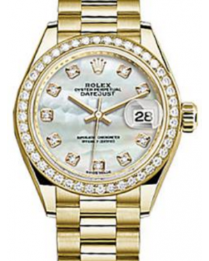 Rolex Datejust 28 279138 White Mother of Pearl Diamond Markers & Bezel Yellow Gold President - Fresh