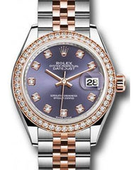 Rolex Datejust 28 279381 Aubergine Diamond Markers & Bezel Rose Gold & Stainless Steel Jubilee - Fresh