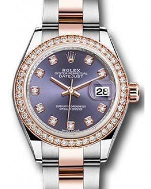 Rolex Datejust 28 279381 Aubergine Diamond Markers & Bezel Rose Gold & Stainless Steel Oyster - Fresh