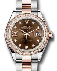 Rolex Datejust 28 279381 Chocolate Diamond Roman 9 o' Clock Diamond Bezel Rose Gold & Stainless Steel Oyster - Fresh