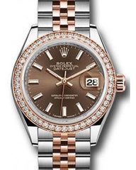 Rolex Datejust 28 279381 Chocolate Index Diamond Bezel Rose Gold & Stainless Steel Jubilee - Fresh - NY WATCH LAB