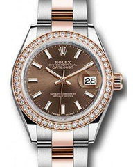 Rolex Datejust 28 279381 Chocolate Index Diamond Bezel Rose Gold & Stainless Steel Oyster - Fresh - NY WATCH LAB