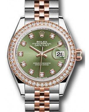 Rolex Datejust 28 279381 Olive Green Diamond Markers & Bezel Rose Gold & Stainless Steel Jubilee - Fresh