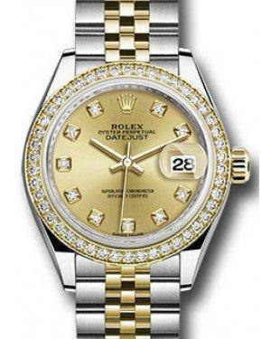 Rolex Datejust 28 279383 Champagne Diamond Markers & Bezel Yellow Gold & Stainless Steel Jubilee - Fresh