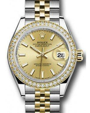 Rolex Datejust 28 279383 Champagne Index Diamond Bezel Yellow Gold & Stainless Steel Jubilee - Fresh