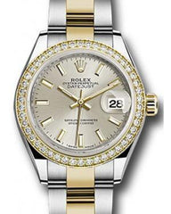 Rolex Datejust 28 279383 Silver Index Diamond Bezel Yellow Gold & Stainless Steel Oyster - Fresh - NY WATCH LAB