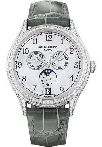 Patek Philippe 38mm Ladies Annual Calendar Complications Watch White Dial 4948G