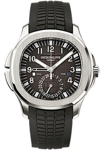Patek Philippe 40.8mm Mens Aquanaut Dual Time Watch Black Dial 5164A